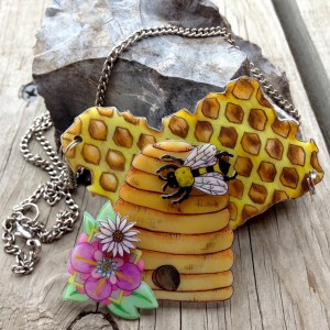 Holey Socks Art honeycomb beehive shrink plastic shrinky dink necklace