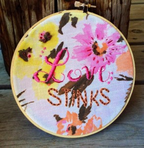 Holey Socks Art Love Stinks Embroidered Hoop Art