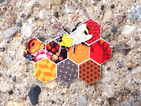 Holey Socks Art Patterned Honeycomb and honey bee necklace