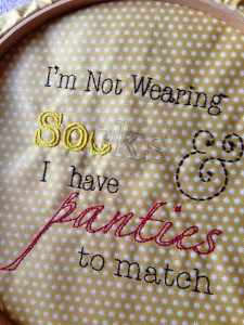 naughty embroidery, work in progress, hoop art, Holey Socks Art