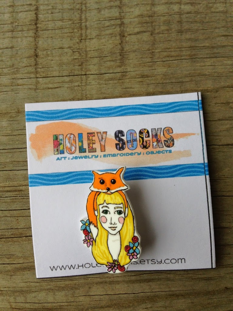 woman and fox pin brooch for Indie Craft Sampler, Holey Socks Art, shrink plastic jewelry