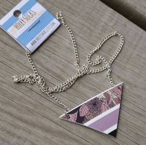 Triangle necklace, triangular shrink plastic necklace, holey socks art